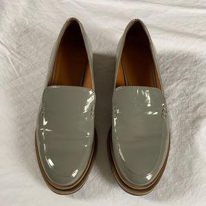 Franco Sarto Gray Pleather Platform Loafers